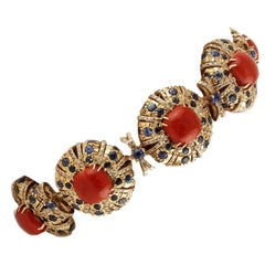 Square Shape Red Corals,Diamonds,Sapphires, Rose Gold Link Retrò Bracelet