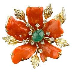 Italian Coral Floral 18 Karat Gold Cocktail Ring