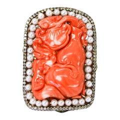 Italian Coral, Ruby, Sapphire, Emerald, Pearl, and Diamond Ring