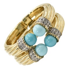 Italian Costume Turquoise Crystal Gold Plated Bangle Bracelets - Pair