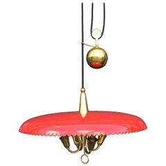 Italian Counter Weight Chandelier Lamp Pendant, Brass and Red Lacquer, 1950s