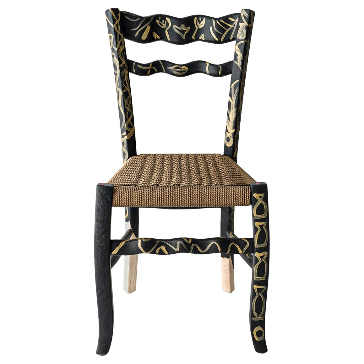 """Italian Countryside Hand Painted Wooden Chair """"A Signurina - Pupara"""""""