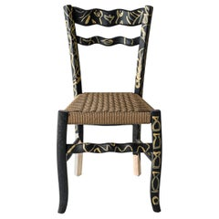 "Italian Countryside Hand Painted Wooden Chair ""A Signurina - Pupara"""