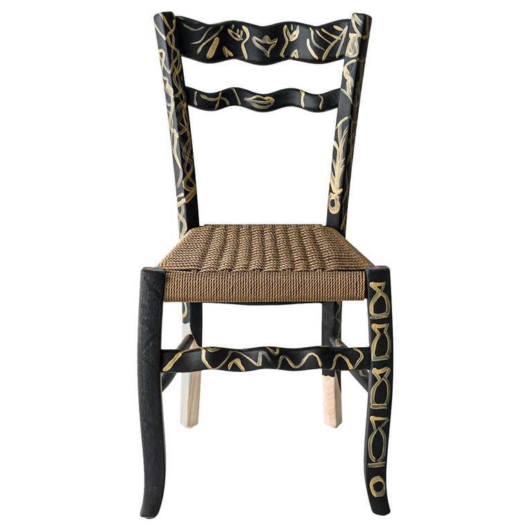 """Italian Countryside Hand Painted Wooden Chair """"A Signurina - Pupara"""" For Sale"""