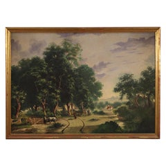 Italian Countryside Landscape Oil Painting on Canvas, 20th Century