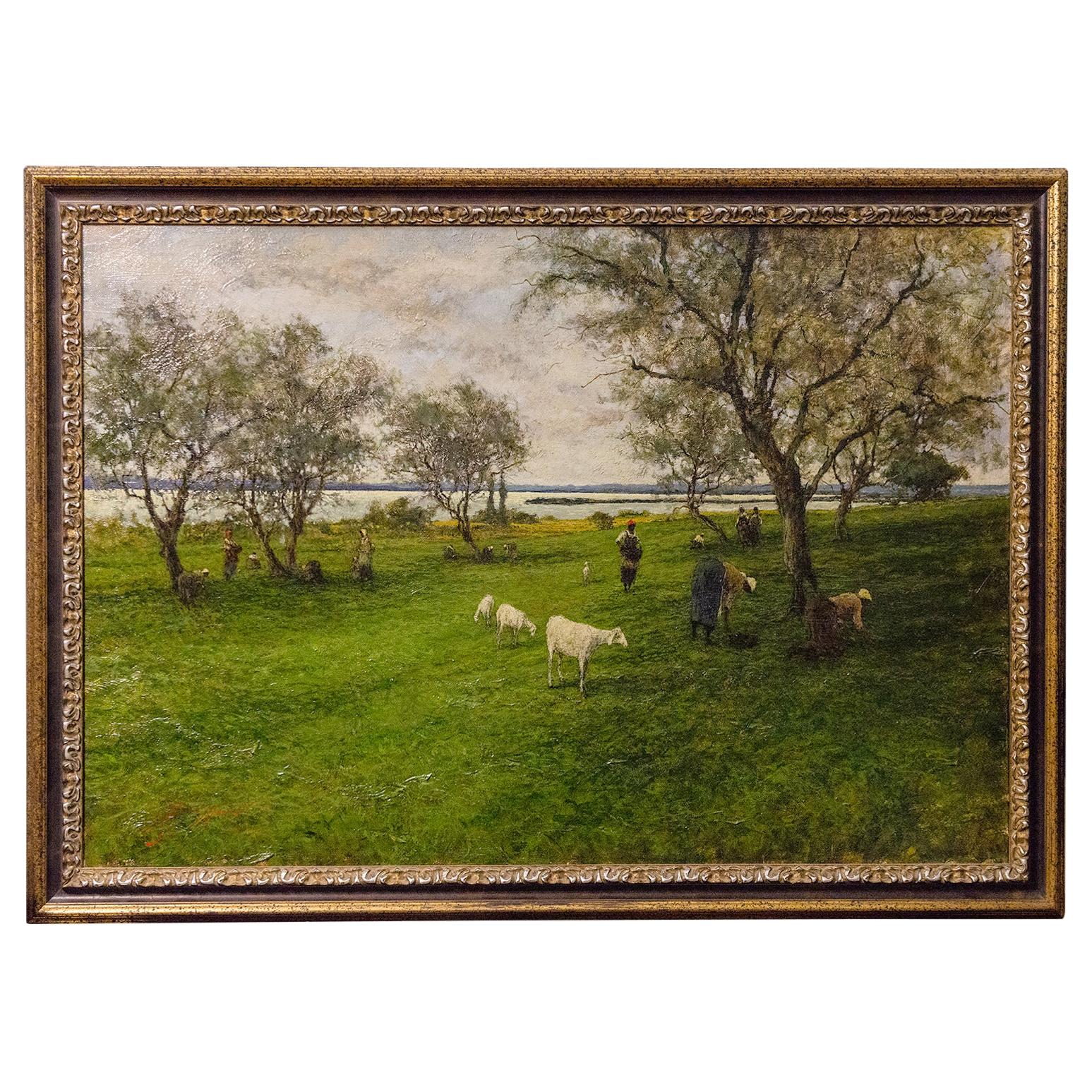 Italian Countryside Landscape With Grazing Sheep