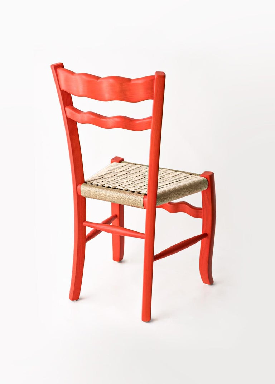 Mid-Century Modern Italian Countryside Wooden Chair