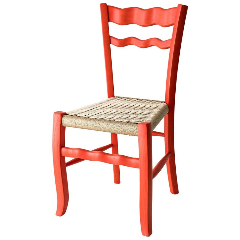 """Italian Countryside Wooden Chair """"A signurina - Corallo"""" For Sale"""