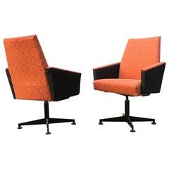 Italian Couple of Orange Fabric, Sky and Metal Swivel Chairs, 1960s