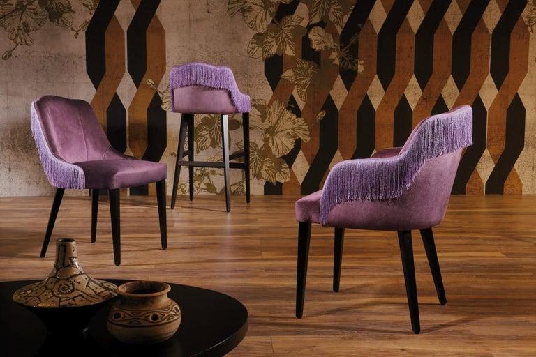 Contemporary Italian Couture Velvet Barstool in Silk Fringes, Set of 4 For Sale