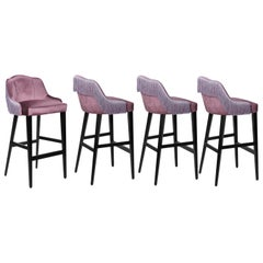 Italian Couture Velvet Barstool in Silk Fringes, Set of 4