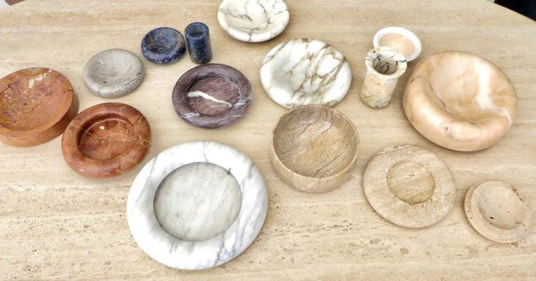 Italian Cream and White Marble Bowl Dish or Vide Poche For Sale 7
