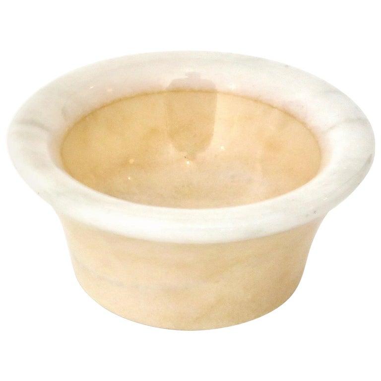 Italian Cream and White Marble Bowl Dish or Vide Poche For Sale