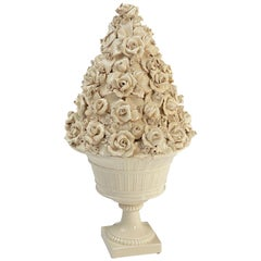 Italian Creamware or White Glazed Pedestal Bowl with Rose Topiary Top
