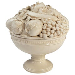 Italian Creamware Tureen or Bowl on Pedestal with Mixed Fruit Topiary Top