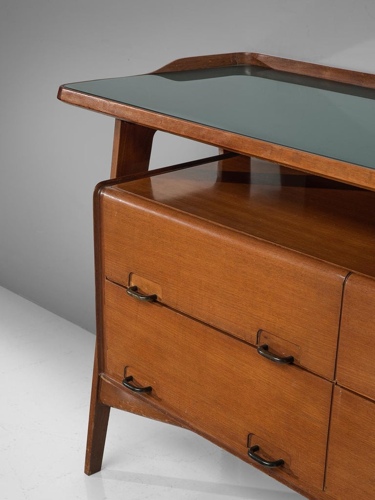 Mid-Century Modern Italian Credenza in Fruitwood and Glass For Sale