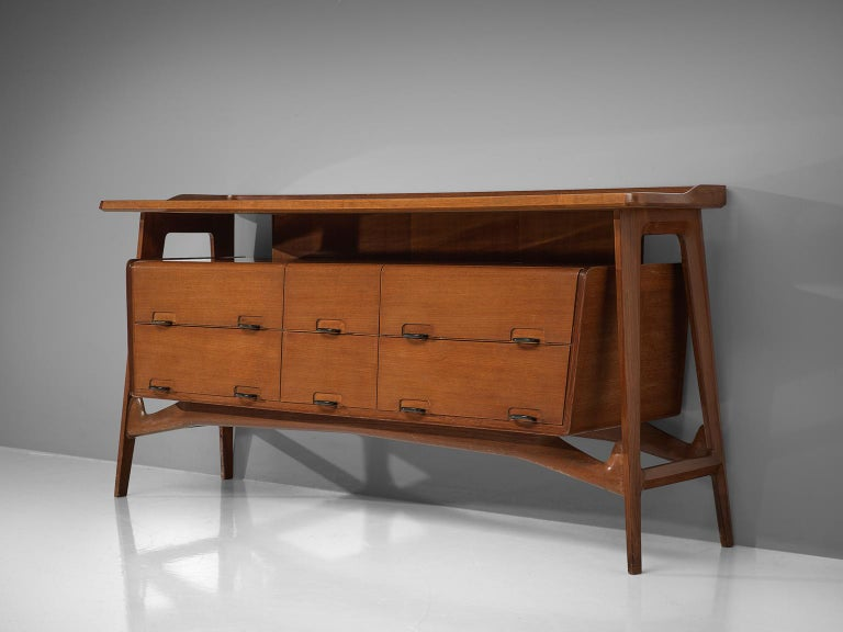 Mid-20th Century Italian Credenza in Fruitwood and Glass For Sale