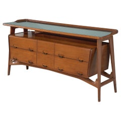 Italian Credenza in Fruitwood and Glass