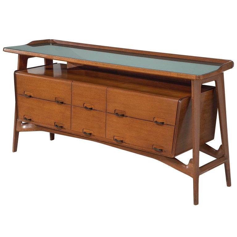 Italian Credenza in Fruitwood and Glass For Sale