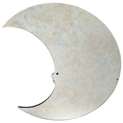 Italian Crescent Moon Face Wall Mirror, 1970s