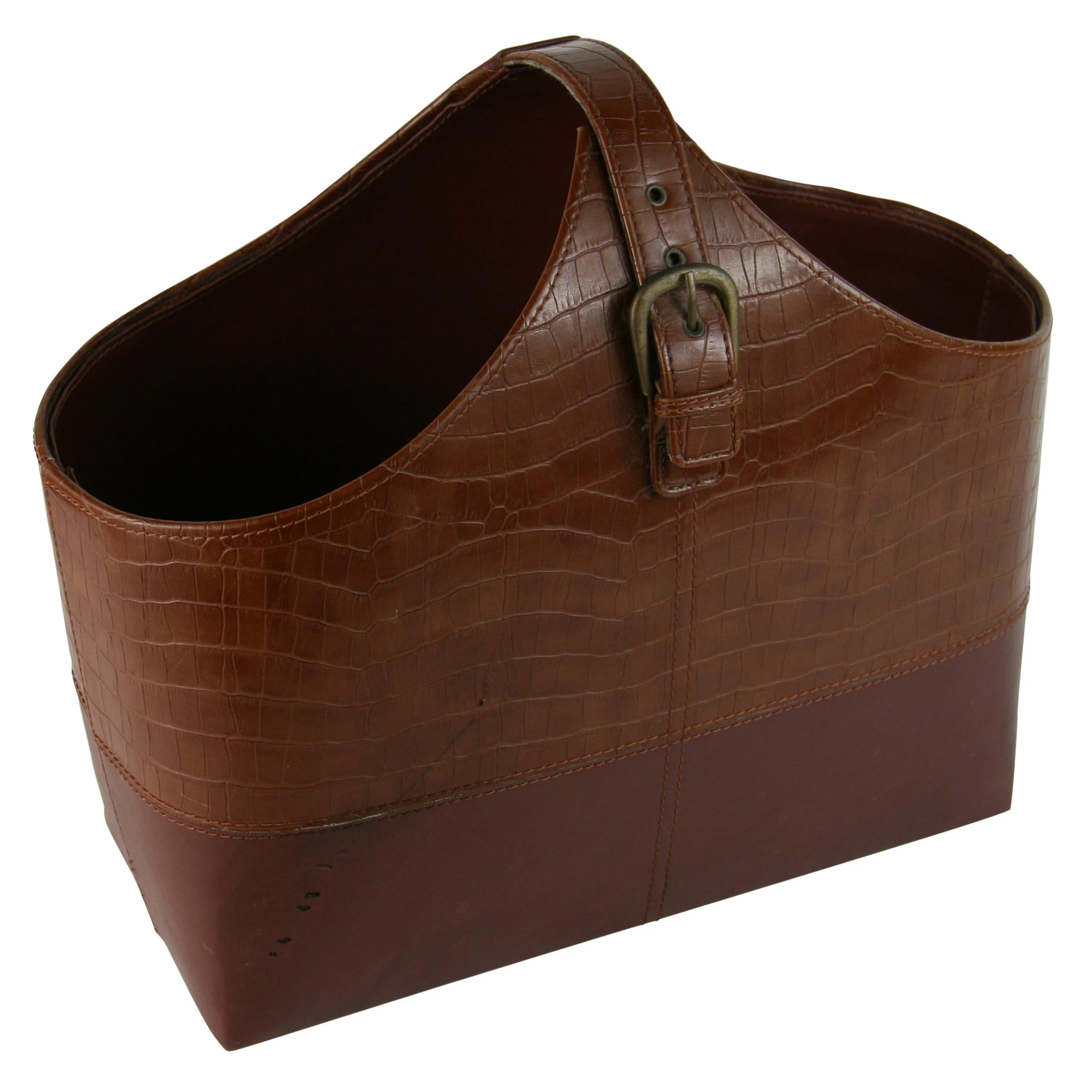 Italian Crocodile Leather Handmade Magazine Holder/Catchall\Basket