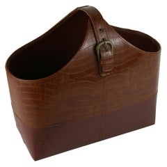 Italian Crocodile Leather Handmade Magazine Holder/Catchall\Basket