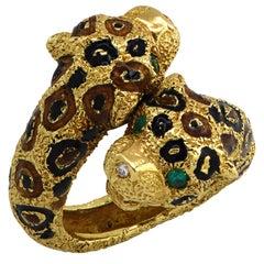Italian Crossover Leopard Ring