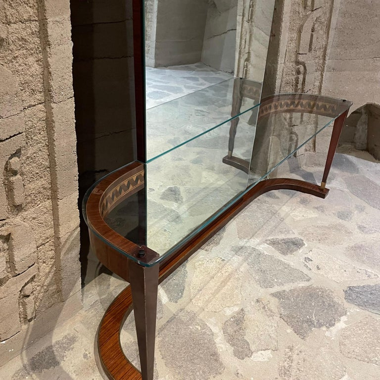 Italian Crowned Curved Console Table Full Mirror Style of Gio Ponti Italy 1950s 4