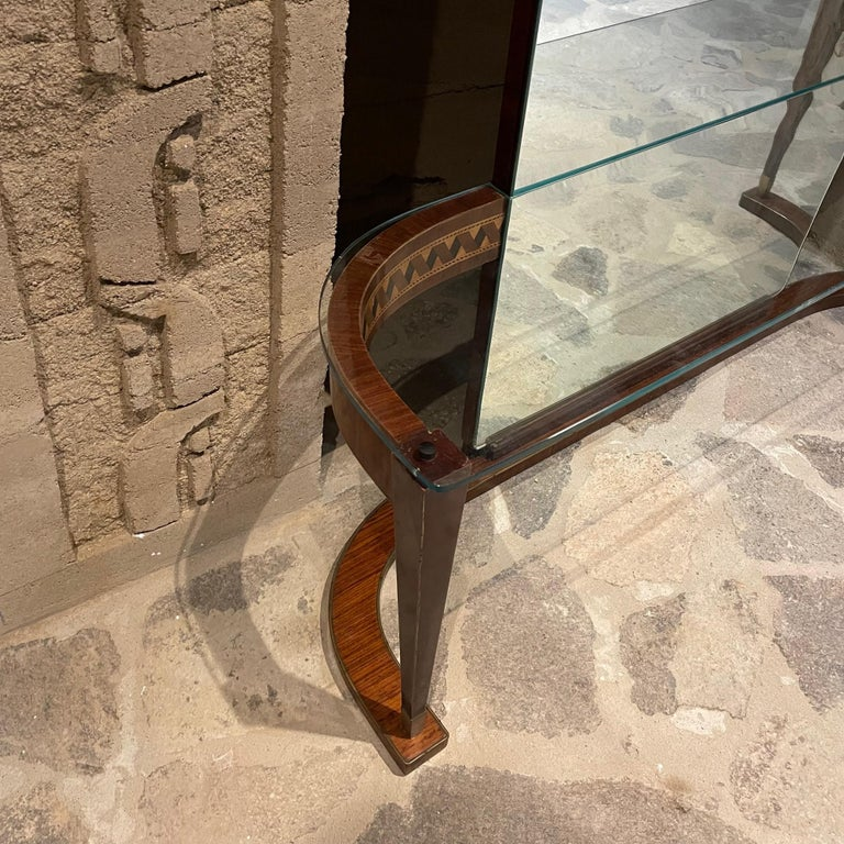 Mid-20th Century Italian Crowned Curved Console Table Full Mirror Style of Gio Ponti Italy 1950s