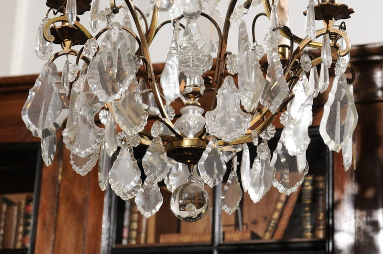 Italian Crystal and Bronze Six-Light Chandelier with Obelisk and Pendeloques In Good Condition For Sale In Atlanta, GA