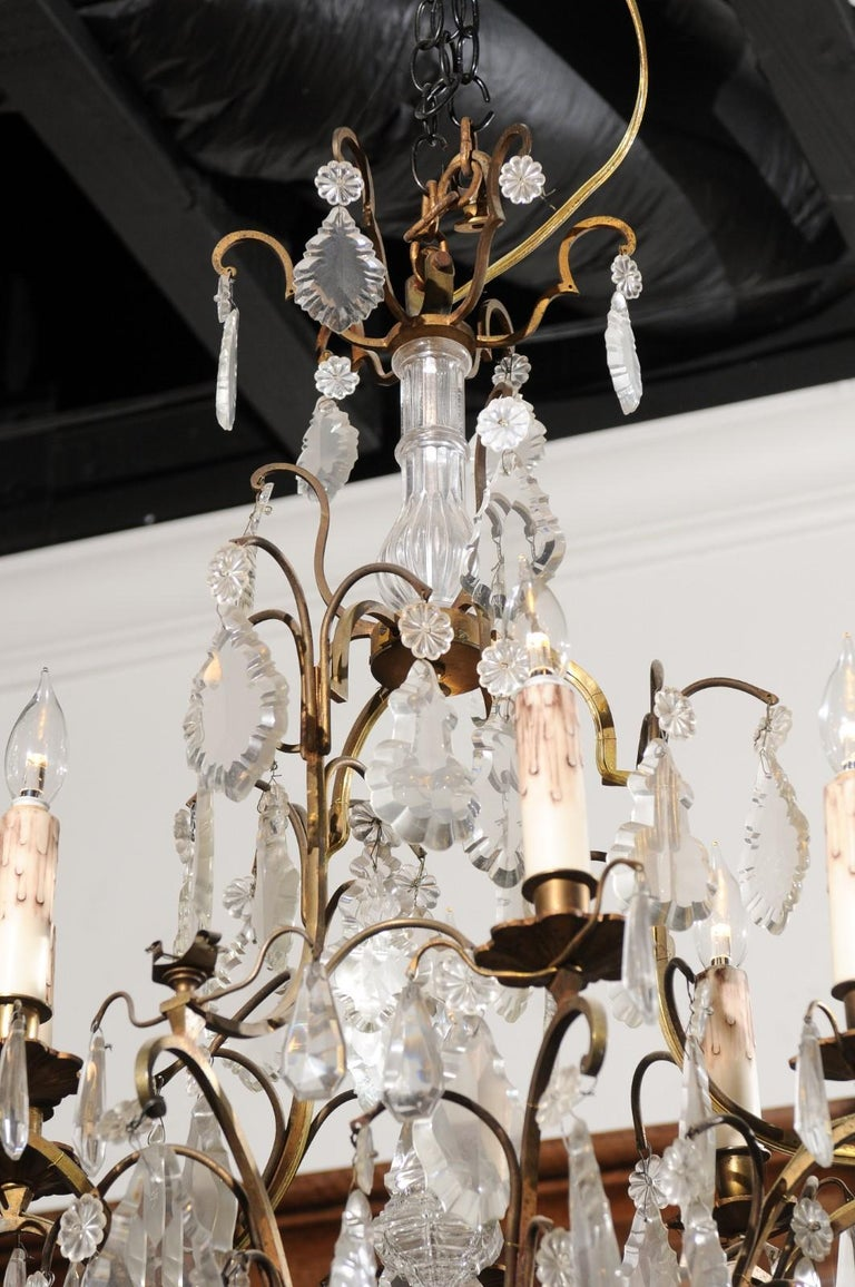 19th Century Italian Crystal and Bronze Six-Light Chandelier with Obelisk and Pendeloques For Sale