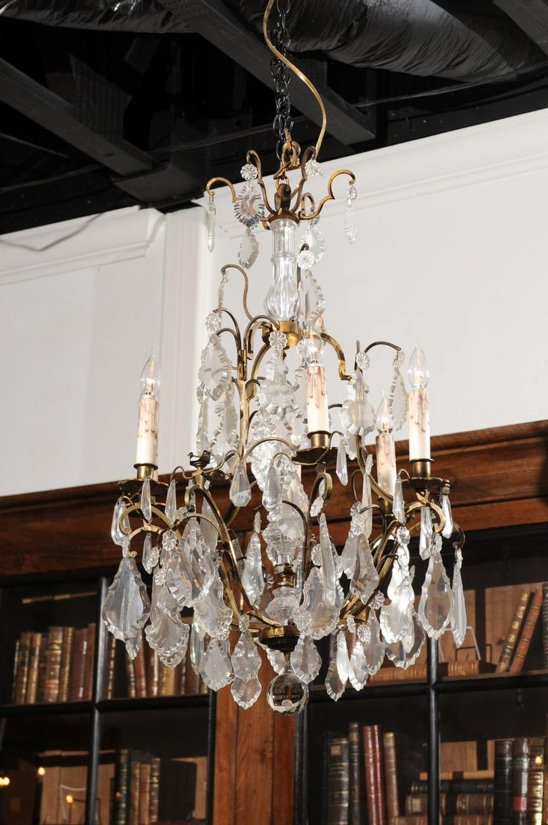 Italian Crystal and Bronze Six-Light Chandelier with Obelisk and Pendeloques For Sale 2