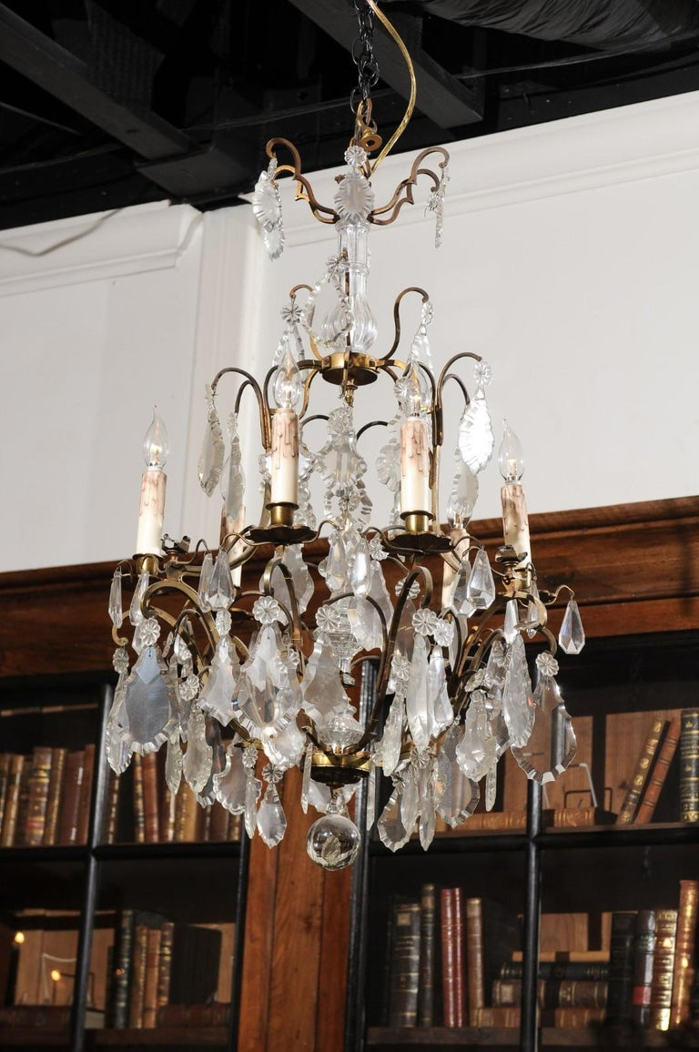 Italian Crystal and Bronze Six-Light Chandelier with Obelisk and Pendeloques For Sale 3