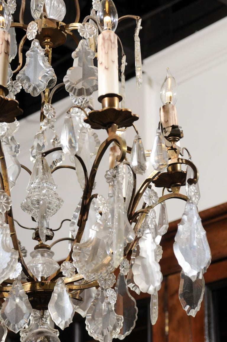 Italian Crystal and Bronze Six-Light Chandelier with Obelisk and Pendeloques For Sale 5