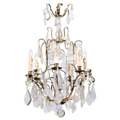 Italian Crystal and Bronze Six-Light Chandelier with Obelisk and Pendeloques