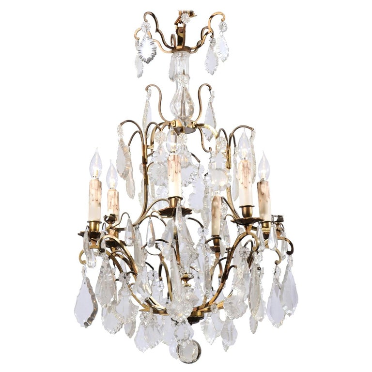 Italian Crystal and Bronze Six-Light Chandelier with Obelisk and Pendeloques For Sale
