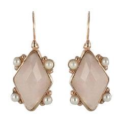 Italian Crystal and Pearl Vermeil Drop Earrings