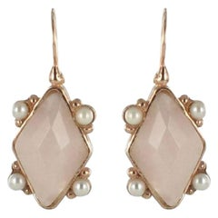 Italian Crystal and Pearl Vermeil Drop Earrings