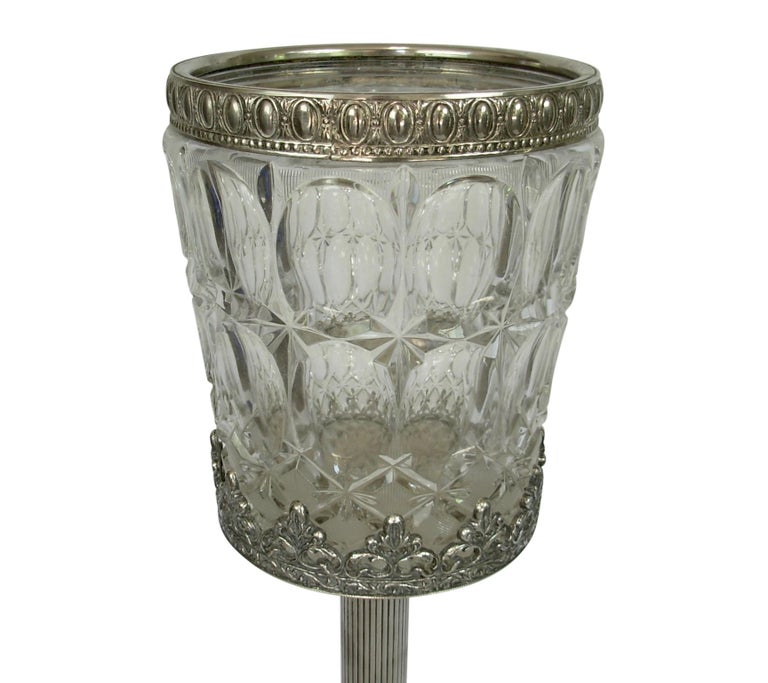 Italian Crystal and Silver Plate Champagne Wine Cooler on Stand In Good Condition For Sale In San Francisco, CA