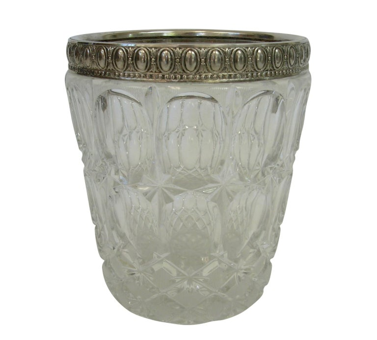 Italian Crystal and Silver Plate Champagne Wine Cooler on Stand For Sale 4