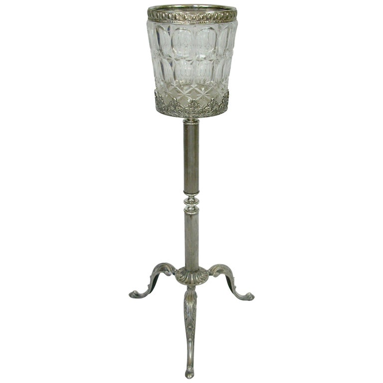 Italian Crystal and Silver Plate Champagne Wine Cooler on Stand For Sale