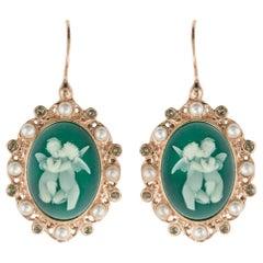 Italian Crystal Angel Cameo Crystal Pearl Vermeil Drop Earrings