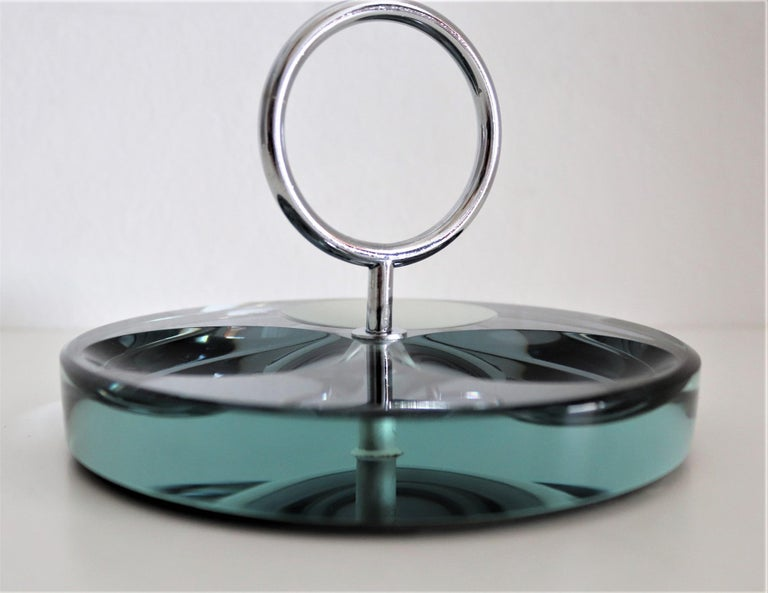 Italian Crystal Ashtray or Vide-Poche by Fontana Arte, 1960s In Good Condition For Sale In Clivio, Varese