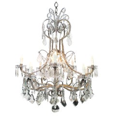 Italian Crystal Beaded Chandelier 20th Century Eleven-Light Cage Chandelier