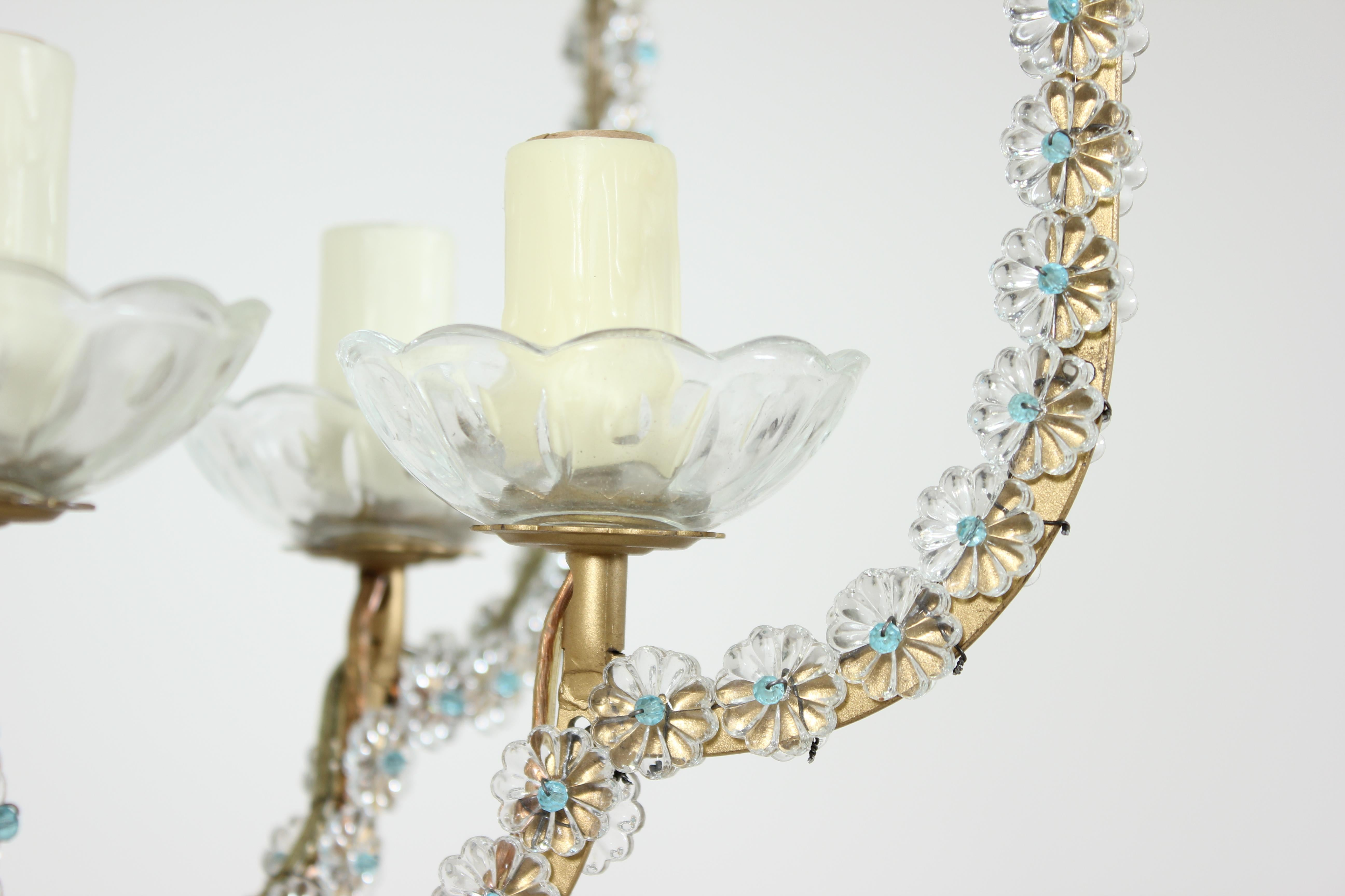 Kristall Perlen Kronleuchter ~ Italienischer kristall perlen kronleuchter im angebot bei stdibs