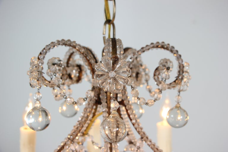Louis XVI Italian Crystal Beaded Chandelier with Ball Drops For Sale