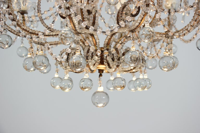 Italian Crystal Beaded Chandelier with Ball Drops In Good Condition For Sale In Los Angeles, CA