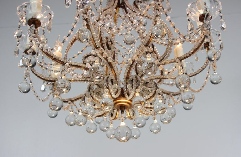 Mid-20th Century Italian Crystal Beaded Chandelier with Ball Drops For Sale