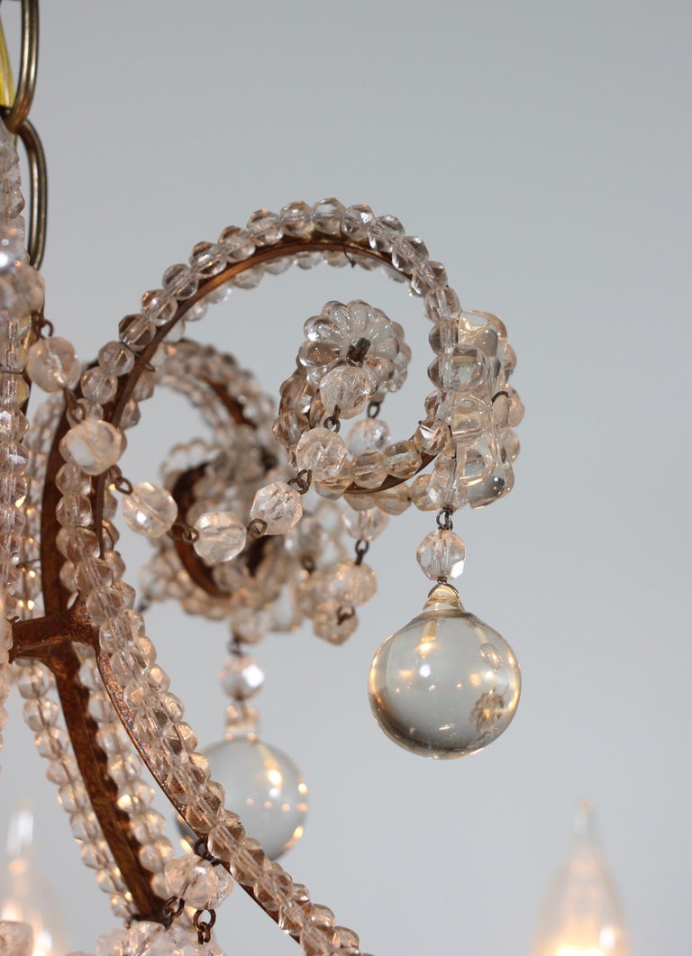 Italian Crystal Beaded Chandelier with Ball Drops For Sale 1