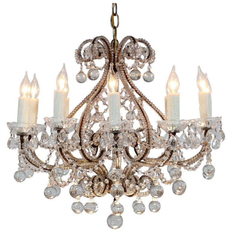 Italian Crystal Beaded Chandelier with Ball Drops For Sale